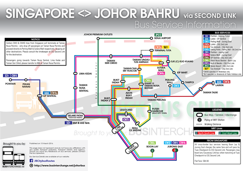 Diagram on Bus Services From Singapore to Johor Bahru via Second Link